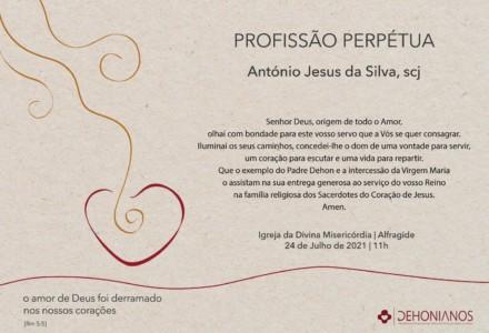 Profissão perpétua de António Jesus da Silva, scj (POR)
